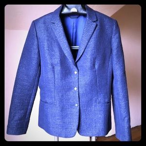 Elie Tahari SZ 10 blue metallic tweed blazer